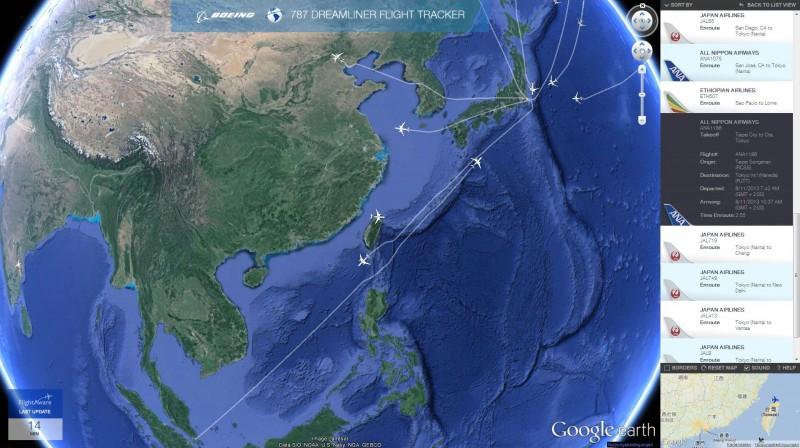 787 Flight-Tracker Globeview