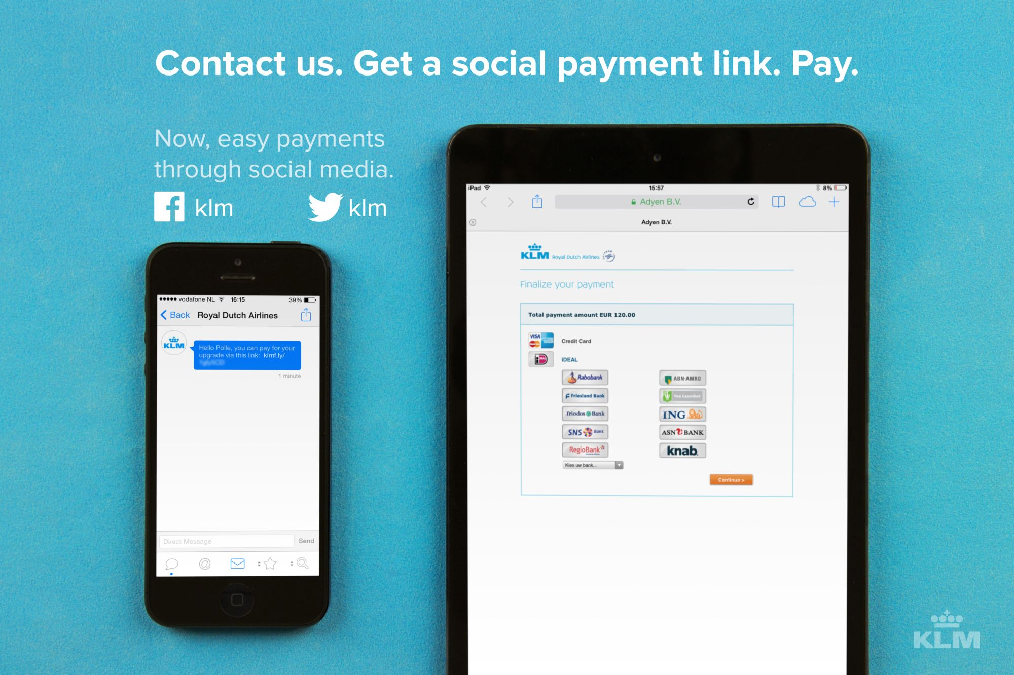 KLM: Payment via Facebook and Twitter