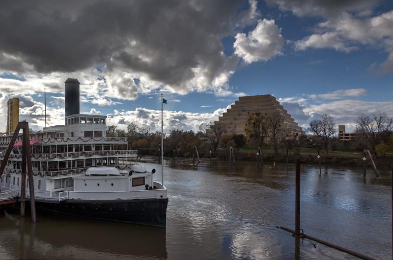 Ziggurat Building & Delta King Steamboat