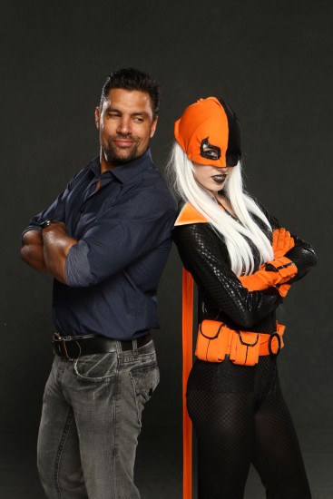 "Manu Bennett from TV show ""Arrow"" and Megan Coffey (cosplayer) as Deathstroke"