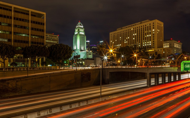 Downtown LA by night with the 101 Freeway.