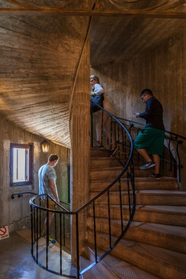 Set of stairs inside one of the towers of Casa Grande