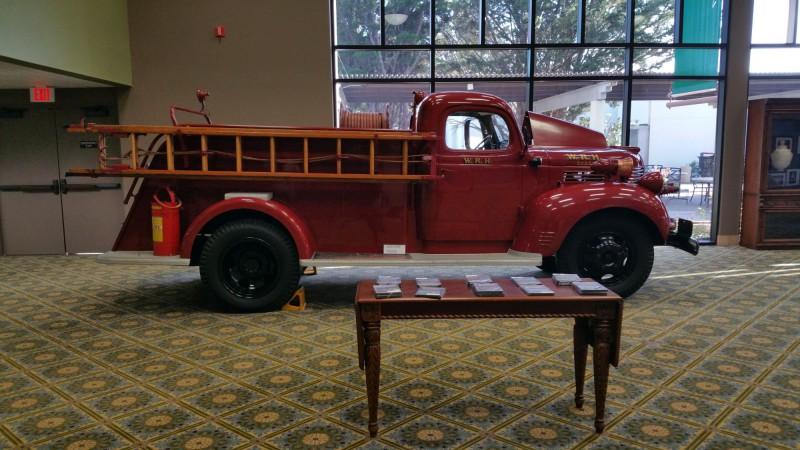 Firetruck inside the Hearst Castle Theater
