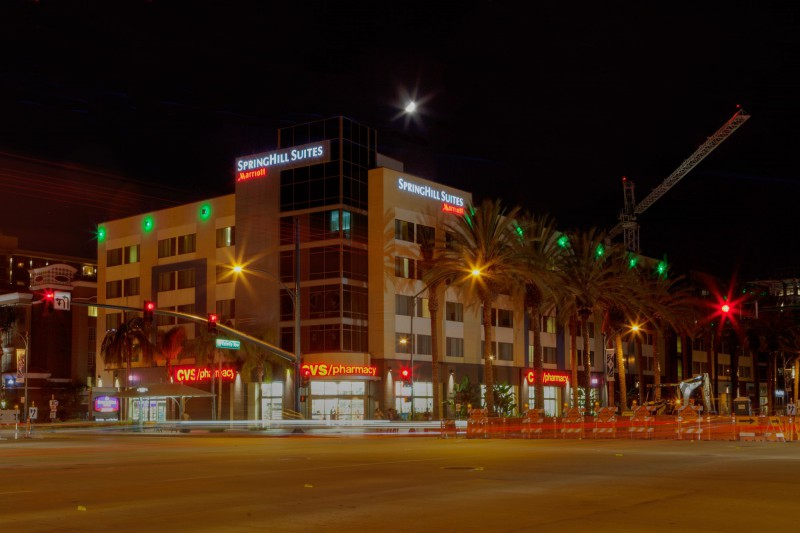 Frontside of the Hotel by night