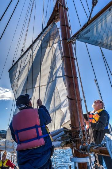 Setting the sails.