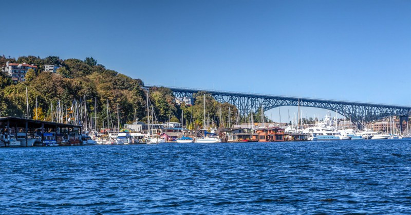 """Fremond Bridge and the house boat of """"Sleepless in Seattle"""""""