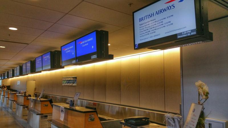 Empty British Airways Check-In Counter in Seattle