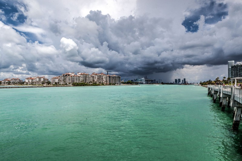 South Pointe Pier in Miami Beach with view of the Main Channel and Port of Miami