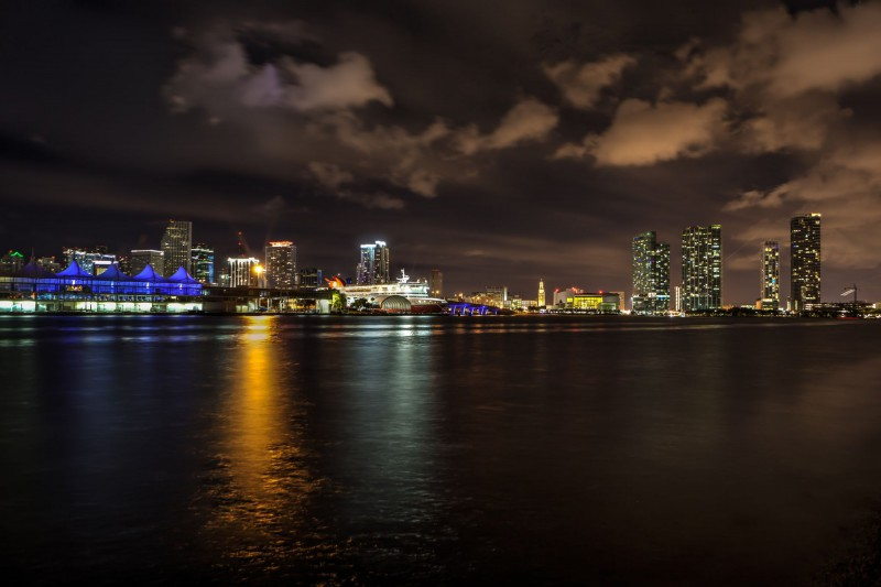 The Port of Miamia and Downtown Miami by night