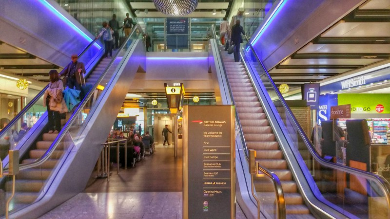 Escalator up to the lounges from the gate level
