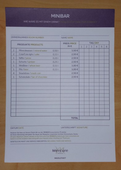 Price List for the Minibar