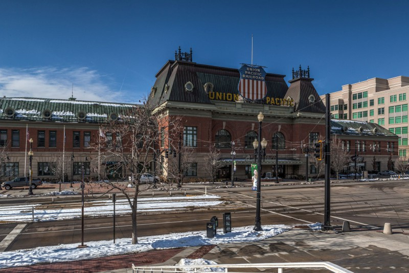 Union Pacific Depot. The front of the Gateway Mall