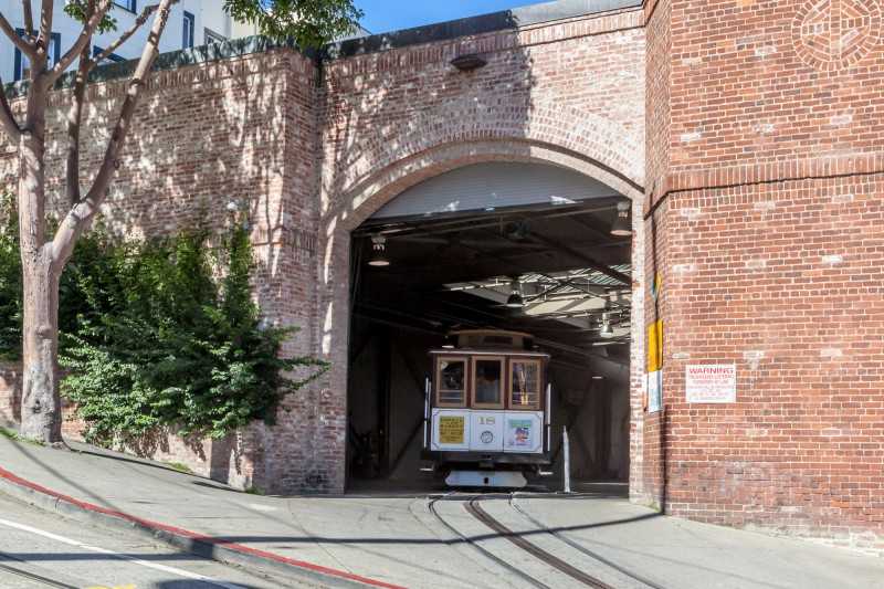 Cable Car exiting the barn