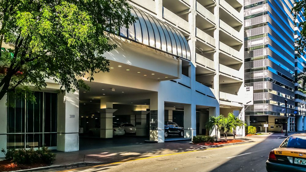Main Entrance to the Hotel and Parking Garage