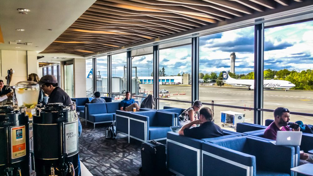 Bar and Seating Area with view of the Tarmac