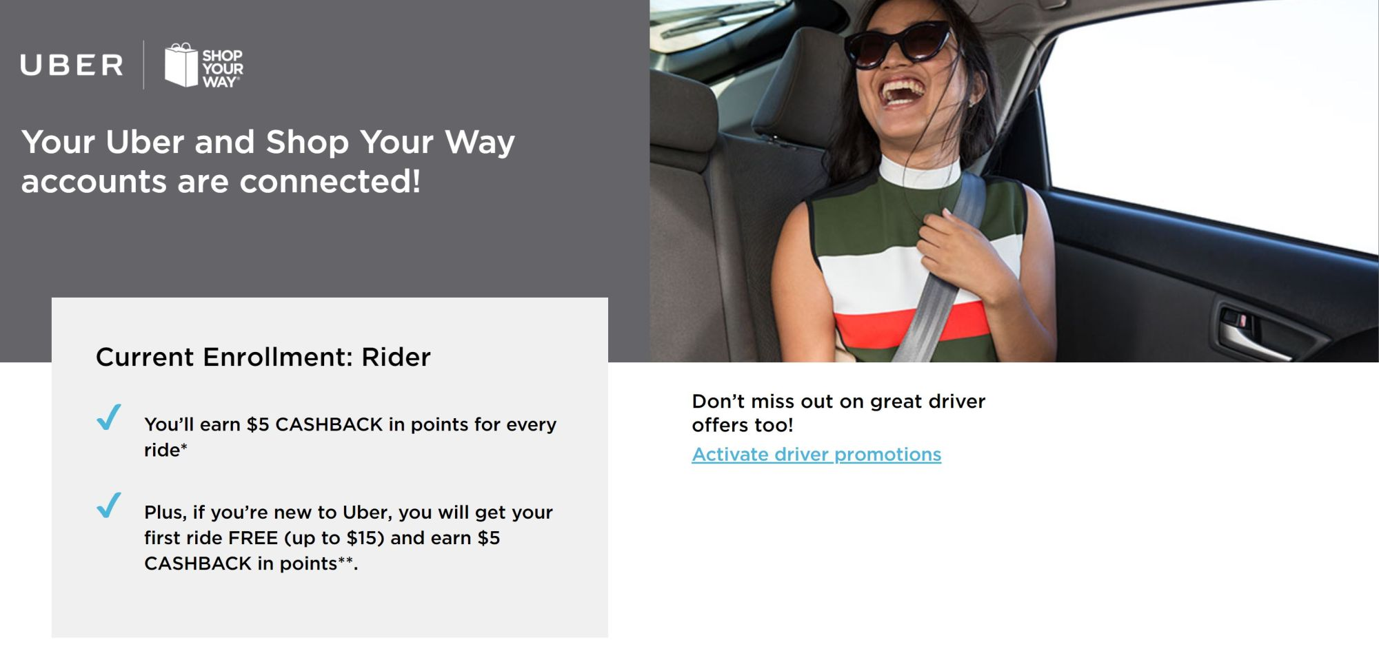 earn shopyourway rewards points with uber this weekend 5 per ride - Uber Fuel Rewards Card Activation