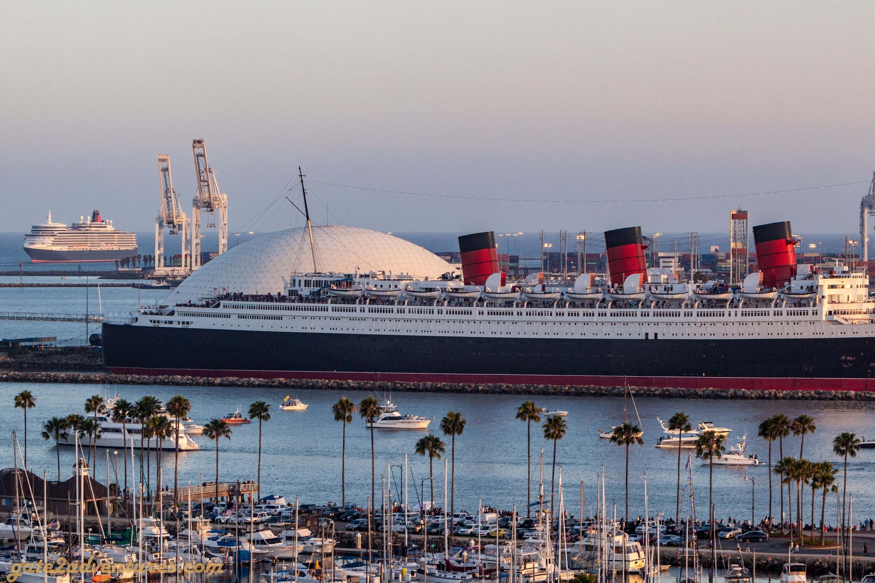 Queen Elizabeth approaching Queen Mary